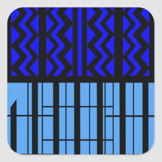 Zigzag azul cúbico pegatina cuadrada