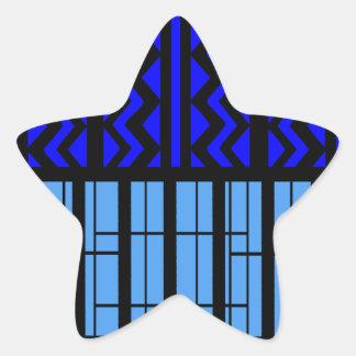 Zigzag azul cúbico pegatina en forma de estrella