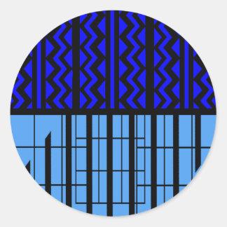 Zigzag azul cúbico pegatina redonda