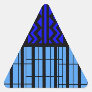 Zigzag azul cúbico pegatina triangular