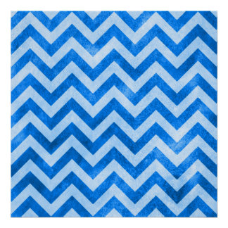 Zigzag azul del Grunge Poster
