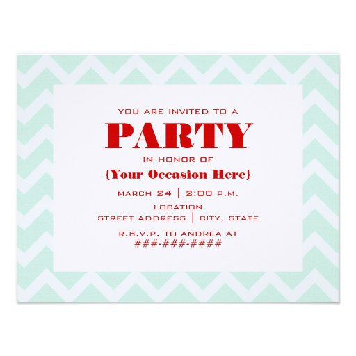 Zigzag azul y invitación roja del fiesta