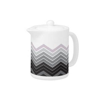 Zigzag Black, White & Lavender Colors Tea Pot