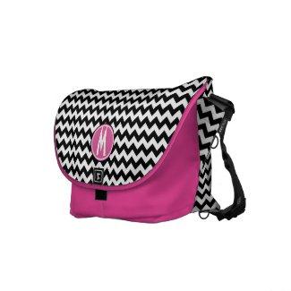 ZigZag Black White & Pink Monogram Messenger rickshawmessengerbag