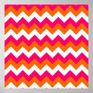 Zigzag blanco anaranjado rosado impresiones