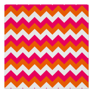 Zigzag blanco anaranjado rosado póster
