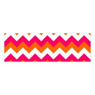Zigzag blanco anaranjado rosado tarjeta de visita