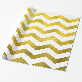 Zigzag blanco de Chevron de la hoja del falso oro Papel De Regalo
