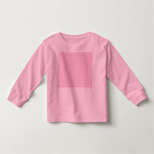 Zigzag blanco del rosa del modelo de Chevron para Playera De Bebé