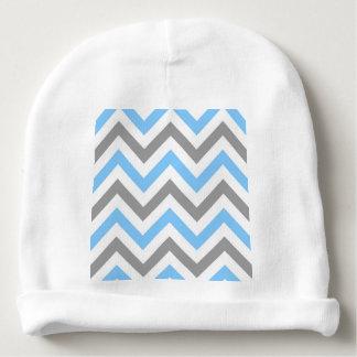 Zigzag blanco gris de DK LG Chevron del azul de Gorrito Para Bebe