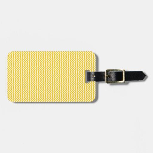 Zigzag - blanco y amarillo de la mandarina etiqueta para equipaje