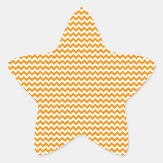 Zigzag - blanco y anaranjado oscuro pegatina en forma de estrella