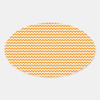 Zigzag - blanco y anaranjado oscuro pegatina ovalada