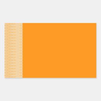 Zigzag - blanco y anaranjado oscuro pegatina rectangular