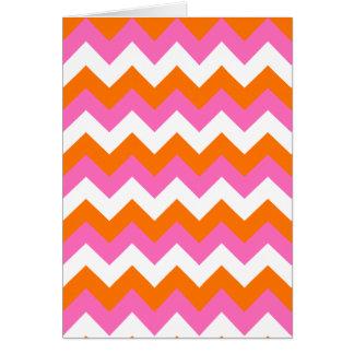 Zigzag blanco y anaranjado rosado tarjeta de felicitación