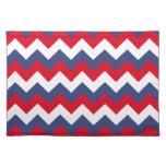 Zigzag blanco y azul rojo mantel