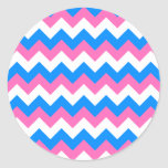 Zigzag blanco y azul rosado pegatinas redondas