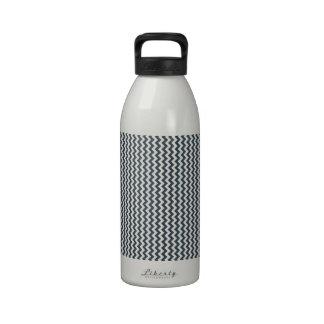 Zigzag - blanco y carbón de leña botella de agua