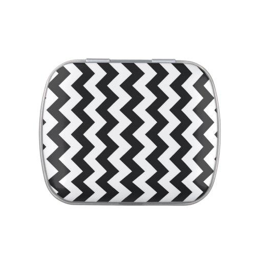 Zigzag blanco y negro frascos de caramelos