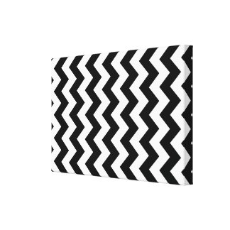Zigzag blanco y negro impresión en lienzo