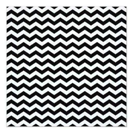 """Zigzag blanco y negro invitación 5.25"""" x 5.25"""""""