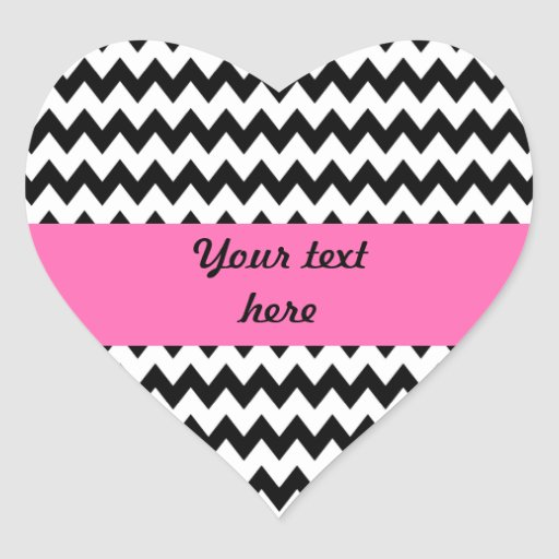 Zigzag blanco y negro personalizado pegatinas corazon personalizadas