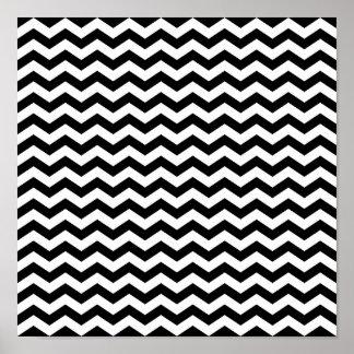 Zigzag blanco y negro póster
