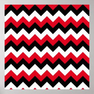 Zigzag blanco y negro rojo póster