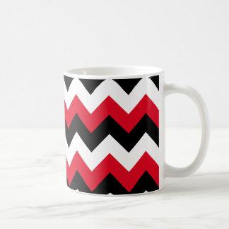 Zigzag blanco y negro rojo taza de café