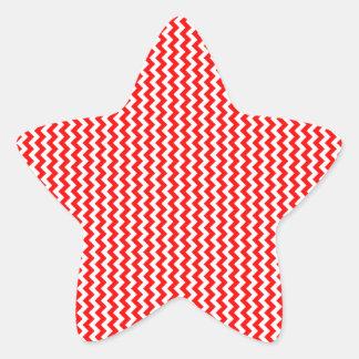 Zigzag - blanco y rojo pegatina en forma de estrella