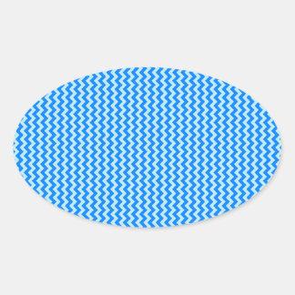 Zigzag - Blizzard Blue and Azure Oval Sticker