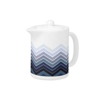Zigzag Blue-Gray Colors Tea Pot