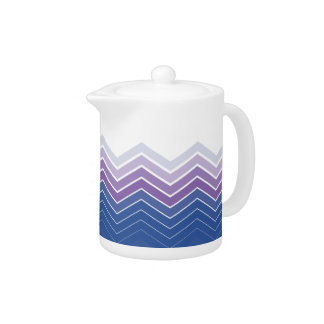 Zigzag Blue & Purple Colors Tea Pot