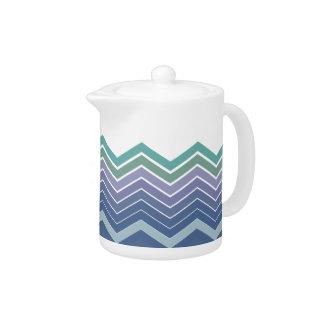 Zigzag Blue, Purple & Green Colors Tea Pot
