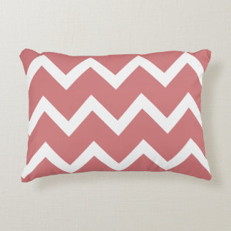 Zigzag Chevron Accent Pillow - Summer Coral