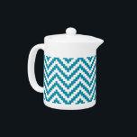 "Zigzag Chevron Block Stripe Turquoise Teapot<br><div class=""desc"">Zigzag Chevron geometric Block Stripe in Turquoise and White</div>"