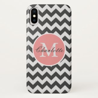 ZigZag Chevron Chic Monogrammed Pink Grey Pattern iPhone X Case