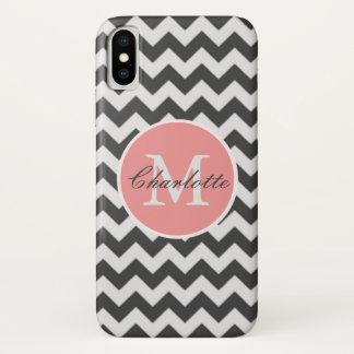 ZigZag Chevron Chic Monogrammed Pink Grey Pattern iPhone X Case