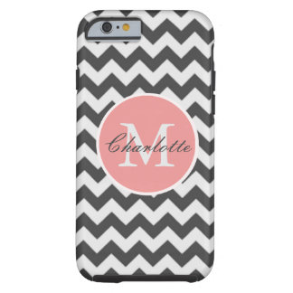 ZigZag Chevron Chic Monogrammed Pink Grey Pattern Tough iPhone 6 Case