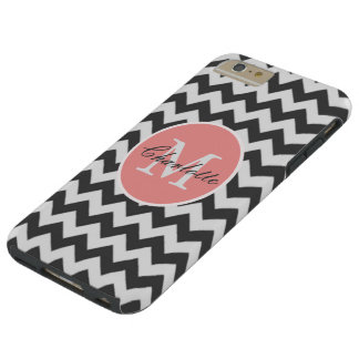 ZigZag Chevron Chic Monogrammed Pink Grey Pattern Tough iPhone 6 Plus Case