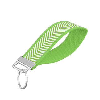 Zigzag Chevron Green & White Wrist Band Key Chain2 Wrist Keychains