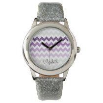zigzag chevron ombre purple personalized design wrist watches