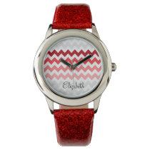 zigzag chevron ombre red personalized design wristwatch