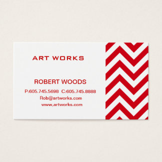Zigzag Chevron Pattern in red color Business Card