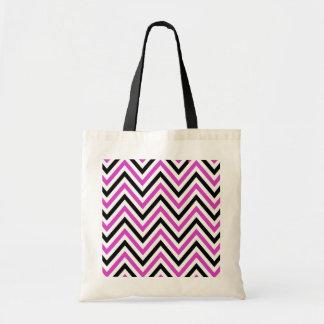 Zigzag (Chevron), rayas - blanco rosado negro Bolsa De Mano
