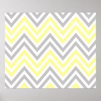 Zigzag (Chevron), rayas - gris amarillo blanco Poster