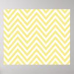 Zigzag (Chevron), rayas, líneas - amarillo blanco Póster