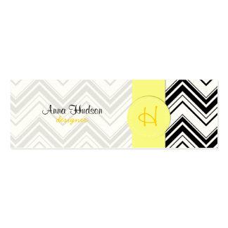 Zigzag Chevron rayas líneas - amarillo negro Plantilla De Tarjeta Personal