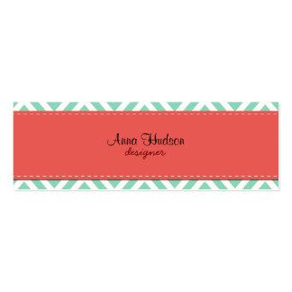 Zigzag (Chevron), rayas, líneas - rojo azul Tarjeta Personal