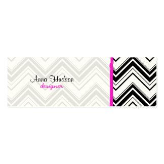 Zigzag Chevron rayas líneas - rosa negro Plantillas De Tarjetas Personales